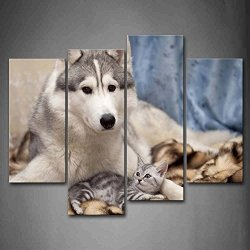 Siberian Husky With A Cat Lie On Blanket Wall Art Painting Pictures Print On Canvas Animal The Picture For Home Modern Decoration