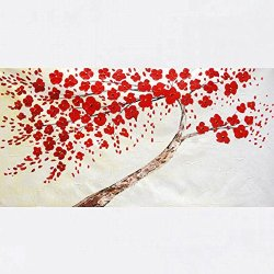 Xm Art-The Red Tree Of Novelty Palette Knife Landscape Oil Painting On Canvas Wall Art Deco Home Decoration(Unstretch And No Frame)