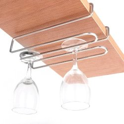 Modern Metal Under Cabinet Shelf 4 Standard Wine Glass Stemware Holder Hanging Rack