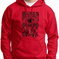 Never Underestimate Awesome Scuba Diver, Diving Hoodie Sweatshirt Large Red