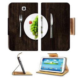 Green Grapes Fork Knife Dish Samsung Galaxy Tab 3 7.0 Flip Case Stand Magnetic Cover Open Ports Customized Made To Order Support Ready Premium Deluxe Pu Leather 7 12/16 Inch (190Mm) X 5 5/8 Inch (117Mm) X 11/16 Inch (17Mm) Luxlady Galaxy Tab3 Cases Tab_7.