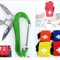 Vas 3N1 Versabiner 3 Blade Aluminum Snap Link Utility Carabiner W Waterproo Mini First Aid Kit- Assorted Random Colors