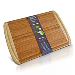 Organic Bamboo Cutting Board - Large - For Prepping And Serving Food With Professional Results - Ecofriendly With No Toxins, Bpa, Chemicals Or Artificial Dyes From Greener Chef®