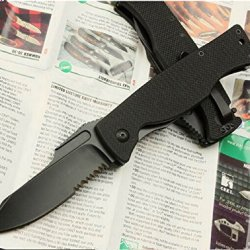 All Black Serrated Tactical Survival Rescue Folding Pocket Knife Glby6113-7.67''