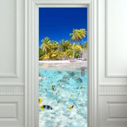 "Door Sticker Underwater, Ocean, Sea Mural Decole Film Self-Adhesive Poster 30X79""(77X200 Cm)"