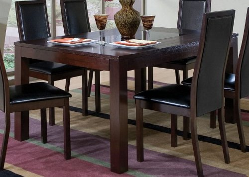 Image of Dining Table with Black Glass Top Inlay Cappuccino Finish (VF_AZ00-45722x30570)