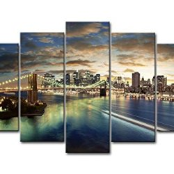 5 Panel Wall Art Painting City Buildings Bridges Clouds Sea Night Lights Landscape Pictures Prints On Canvas City The Picture Decor Oil For Home Modern Decoration Print