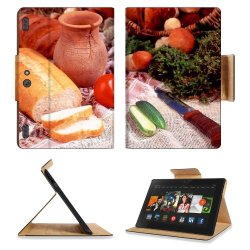 Cucumber Bread Tomato Baked Goods Herbs Knife Amazon Kindle Fire Hdx 8.9 [2013 Version] Premium Deluxe Pu Leather Flip Case Stand Magnetic Cover Open Ports Customized Made To Order Support Ready 9 13/16 Inch (250Mm) X 6 7/8 Inch (175Mm) X 11/16 Inch (17Mm