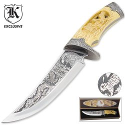 Custom Faux Ivory Wildlife Eagle Bowie Knife
