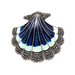 Sterling Silver Scallop Shell Pin With Marcasite Stones And Blue Enamel