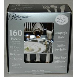 "Reflections Heavyweight ""Looks Like Silver"" Disposable Flatware (160 Pcs)"