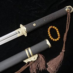 Tang Jian Wootz Steel Bit Copper Equipment Ebony Scabbard Black Skin Handle Sword