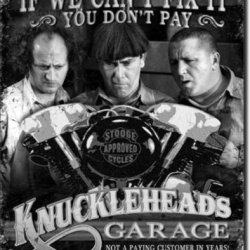 Three Stooges Tin Metal Sign : Knuckleheads Garage , 16X13