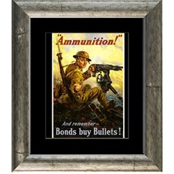 "Buy Bonds, Bonds Buys Bullets, Classic Wwi Recruiting Poster, Framed 11"" X 14"" Photo, Soldier Machine Gun, Ammunition"