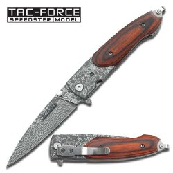 """Tf-672Dbw Platinum Collection Spring Assist N2Sl1Xo Knife Damascus Etched 2Phahlc2 Blade 4"""" Ajuiioptr 4567Fffg 567Ybghjk Spring Assist Knife Measures 4"""" Closed , 3"""" Blade.Dark Brown Wood Handle .Damascus Etching Blade. F7Aqar Includes Qtm4Xk Pocket Clip."""