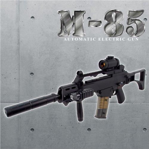 予備マガジン付き1/1スケール高性能アサルトライフル 電動ガン、フラッシュライト、スコープ搭載モデル M85エアガン