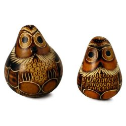 "Maracas Gourd Owl Rattles Set Of Two 3.5"" Hand Carved Fair Trade"