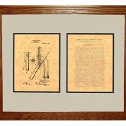 "Hunting-Knife Patent Art Print In A Honey Red Oak Wood Frame (16"" X 20"")"