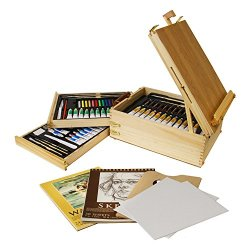 "Us Art Supply® 95-Piece Wood Box Easel Painting Set - 12-Tubes Of Oil Colors, 12 Oil Pastels, Plastic Palette Knife, 3 Assorted Oil Painting Brushes, 2-Ea 8""X10"" Canvas Panels, 12-Tubes Of Acrylic Colors, 12 Artist Pastels, 3 Assorted Acrylic Painting Bru"