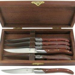 Sr Laguiole Steak Knives With Brown Elm Handles, Set Of 6