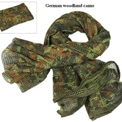 Tactical Mesh Net Camo Scarf For Wargame,Sports & Other Outdoor Activities (German Camo)