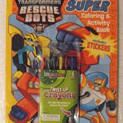 Bundle (C) - Transformers Rescue Bots 144 Page Coloring & Activity Book With Stickers Plus One 6 Pack Twist-Up Crayons.