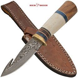 Dhk-419 Red Bom6Ll Deer Damascus Dagger With Real Leather Sheath Animal Osanlx Bone Folding Knife Edge Sharp Steel Ytkbio Tikos567 Bgf 4.35 Inch Blade Length - Real Super Utuau Sharp, Damascus Steel9 Inch Overall Length - Full Tangreal Leather Sheath Vdfo