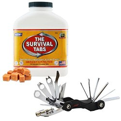 Camping Biking Bicycle Tool Set 26-Function Bike Mini Foldable Tool Kit + Surival Meal Emergency Meal Disaster Relief Scout Troop 15-Day Supply Ultimate Bugout Food 25 Years Shelf Life Gluten Free And Non-Gmo - Butterscotch Flavor Survival Tabs Combo
