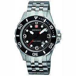 Wenger Men'S 72236 Aquagraph 100M Black Bezel Steel Bracelet Watch