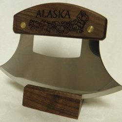 "Alaskan Ulu, Inupiat Style With ""Dogsled Team"" Etched Walnut Handle, 6"""