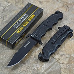 Tac Force Special Design Half Serrated Black Stainless Steel Blade Knife