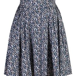 Eshakti Women'S Floral Print Pleated Skirt S-6 Short White/Plum/Blue