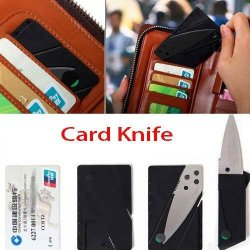 Gadgets Portable Stainless Steel Thin Folding Multifunction Knife With Card Size-Black