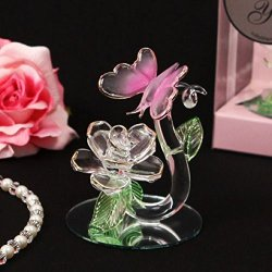 Enchanted Crystal Butterfly & Rose Figurine Wedding Or Sweet 16 12 Ct