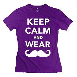 Aopo Keep Calm Wear Mustache Tee Shirts For Girl