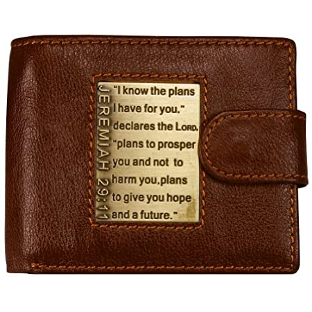 This inspirational men's brown leather wallet, with snap closure, sports a lacquered antique brass inlay with engraved Scripture from Jeremiah 29:11. Inside are 2 full length bill fold pockets, an ID window slot, 8 credit card slots and 2 multi-funct...