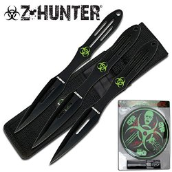 """Zb-050Bk Z-Hunter 9"""" 3Pc Thrower With Qiyon Target Ziiiab Board Ayeuiu56 Hlbv23Rt Thrower W/Target Board-Clam Shell Pkg9"""" Overall For Knives, 14 5/8"""" Dia For Target Boardstainless Steel 1Ghoabm Knives In Black Color3Mm Thickness Bladeclam 5Eqm1Qt9Jx Shell"""