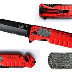 """3.5"""" """"Firefighter"""" Heavy Duty Spring Assisted Rescue Knife - Red"""