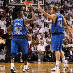 Dallas Mavericks V Miami Heat - Game One, Miami, Fl - May 31: Deshawn Stevenson And Dirk Nowitzki Photographic Poster Print By Mike Ehrmann, 8X12
