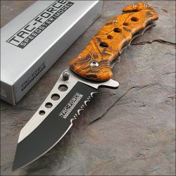 Tac-Force Orange Camo Speed Assisted Opening Rescue Glass Breaker Knife New!!