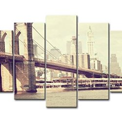 5 Panel Wall Art Painting Bridge Brooklyn New York Prints On Canvas The Picture City Pictures Oil For Home Modern Decoration Print Decor