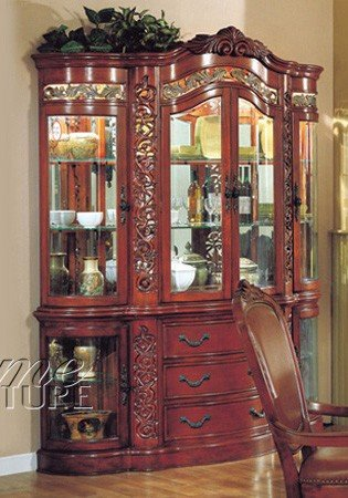 Image of China Cabinet Buffet Hutch Windsor Cherry Finish (VF_AZ00-39489x22258)