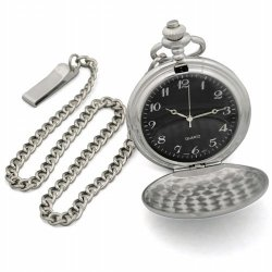 Cathy'S Concepts Black Face Silver-Plated Pocket Watch