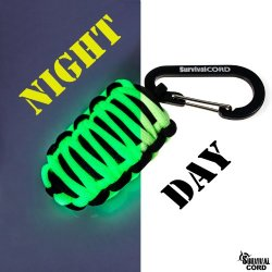 Survival Kit In Paracord Pod Keychain Includes Fire Starter, Tinder, Fishing Line And Hooks - Sinkers - Knife Blade - Foil. - Glow In The Dark