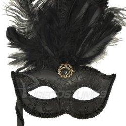 Colombina Vanity Fair Venetian Mask (Black/Black)