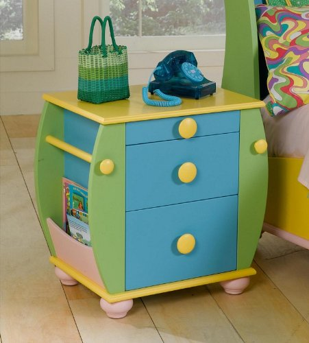 Image of Kids Nightstand with Rack and Rod Storage in Multicolored Finish (AZ00-46865x19541)