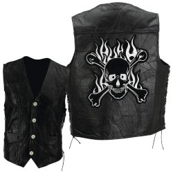 Exclusive Vests Incomparable Motorcycle Leather Vest With Skull-Sz Xl Standout