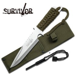 "Survivor ""Recon"" 11.5"" Combat Survival Knife W/ Fire Starter- Silver"