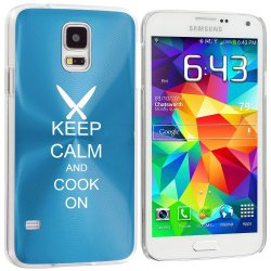 Samsung Galaxy S5 Aluminum Plated Hard Back Case Cover Keep Calm And Cook On Chef Knives (Light Blue)