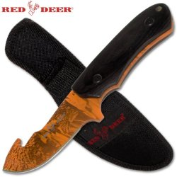 Red Deer Hunting Knife With Gut Hook And Nylon Sheath - 8.25 Inches Overall Length - Wooden Handle - Full Tang - High Carbon Steel Blade - Orange Camo